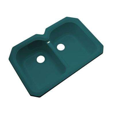 Hartford Undermount Acrylic 33 in. 0-Hole Double Bowl Kitchen Sink in Teal