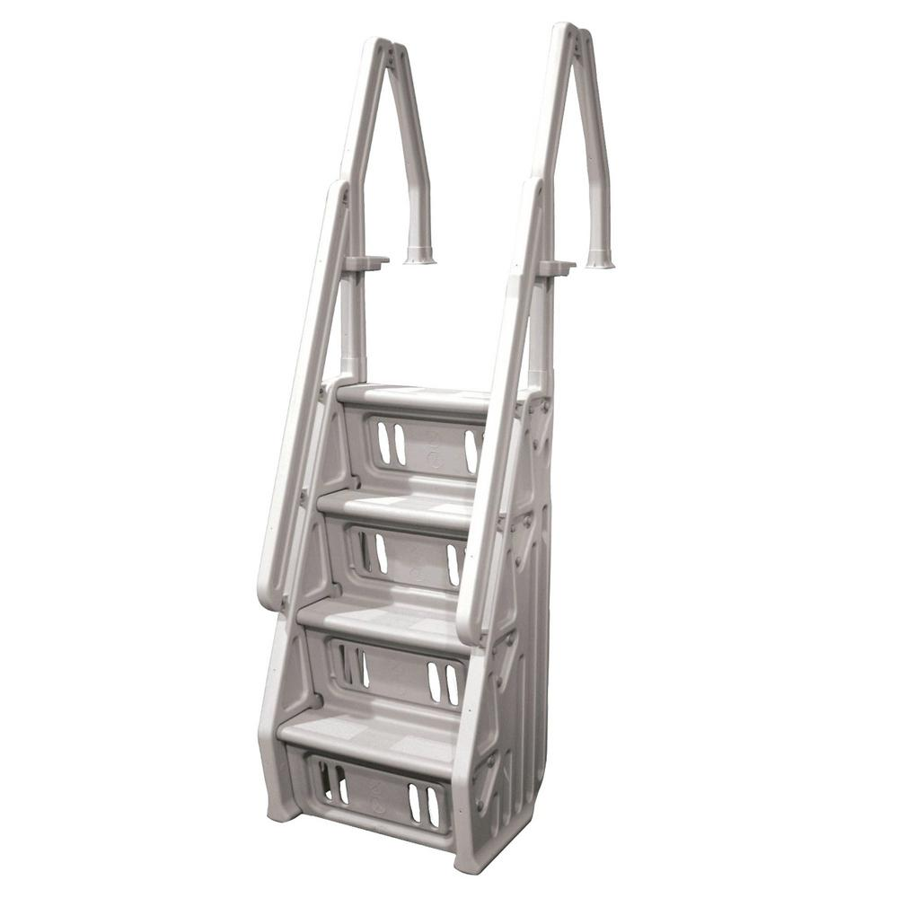 The Vinyl Works In Step 46 in. to 60 in. Ladder for Above Ground Swimming  Pool in Taupe