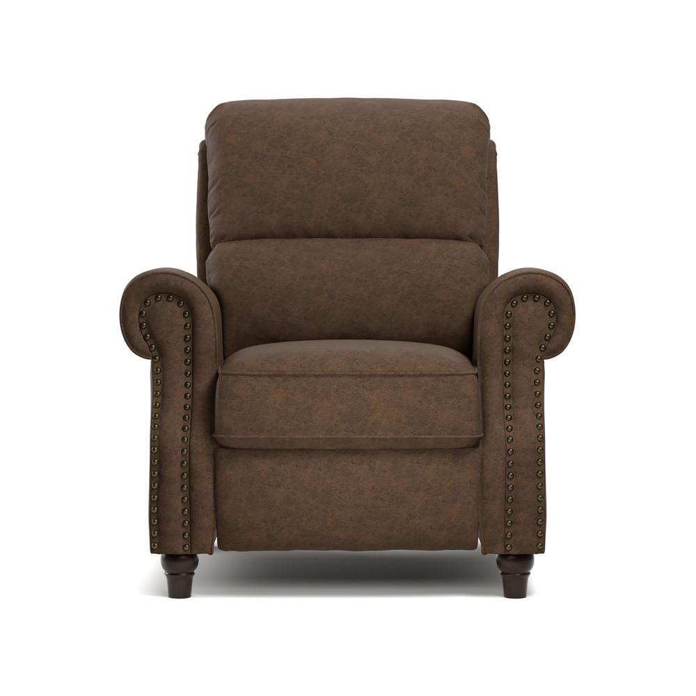 ProLounger ProLounger Push Back Recliner Chair In Saddle Brown Distressed  Faux Leather