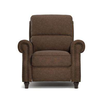 ProLounger Push Back Recliner Chair in Saddle Brown Distressed Faux Leather