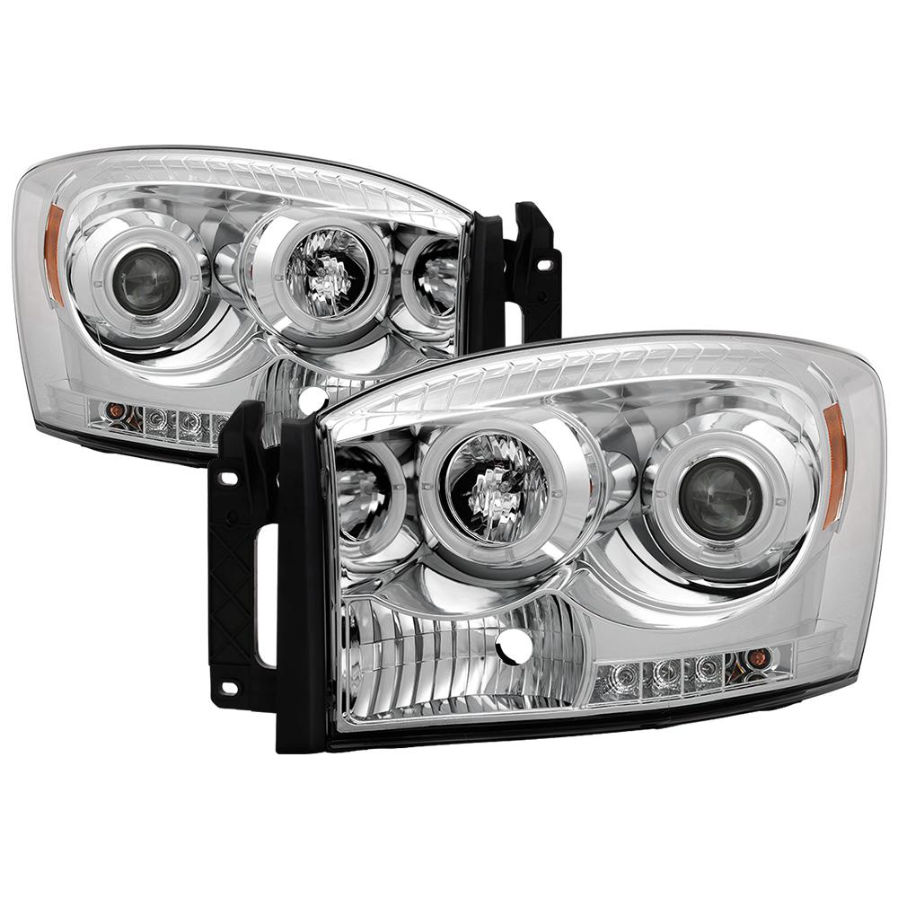 FITS 06-09 ONLY DODGE RAM DIESEL SPYDER BLACK//SMOKE HEADLIGHTS WITH CCFL HALO...