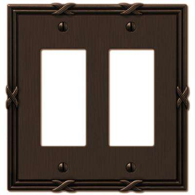 Ribbon and Reed 2 Decora Wall Plate - Aged Bronze