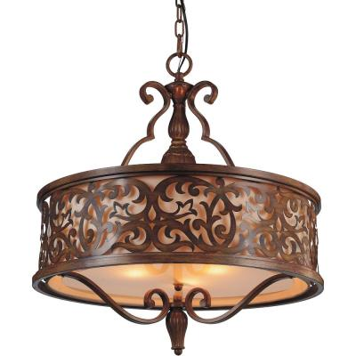 Nicole 5-Light Brushed Chocolate Chandelier with Beige shade