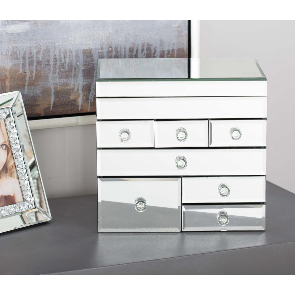 litton lane 10 in x 10 in modern mirror jewelry box 35745 the