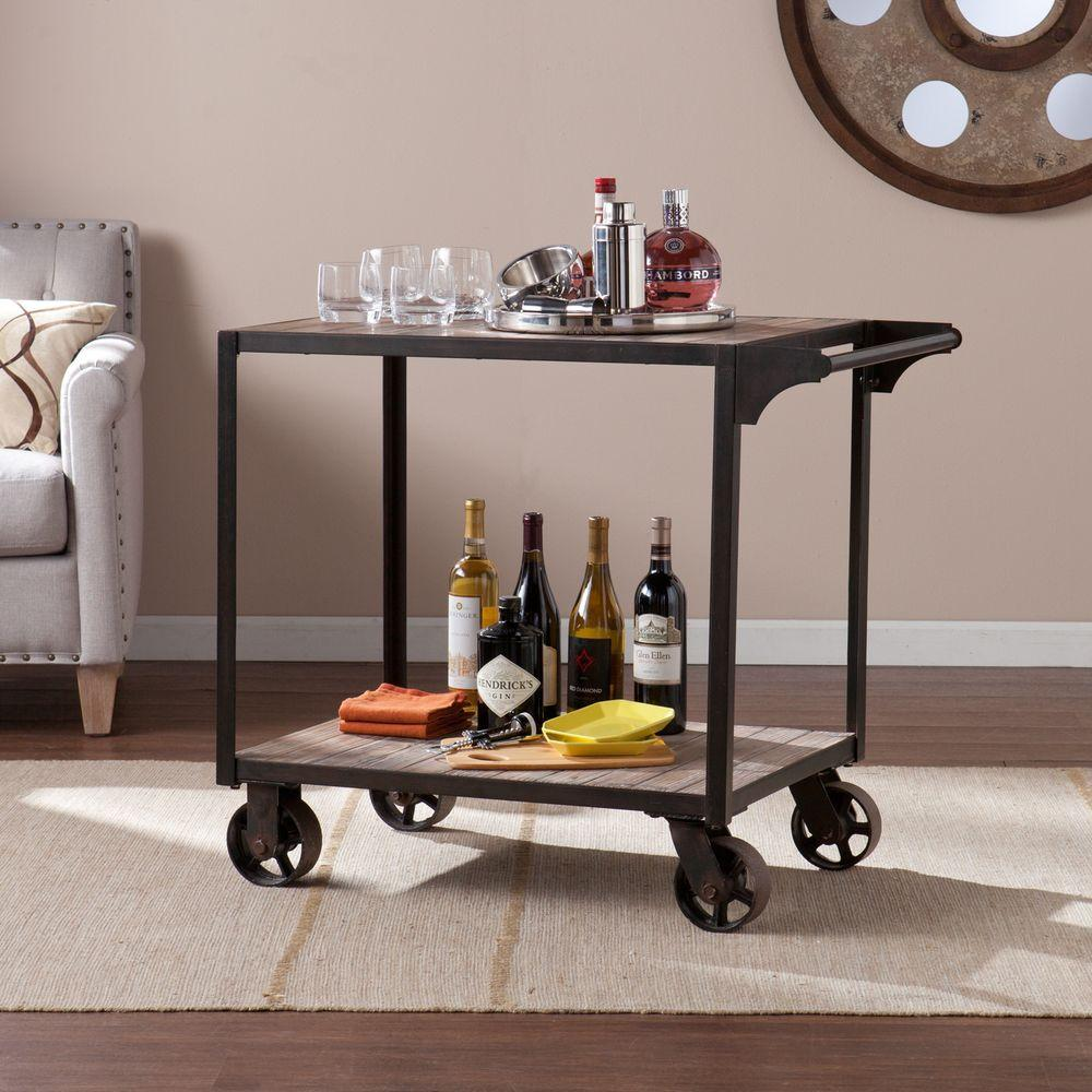 Carlisle Industrial Bar Cart in Aged Black with Aged Gray