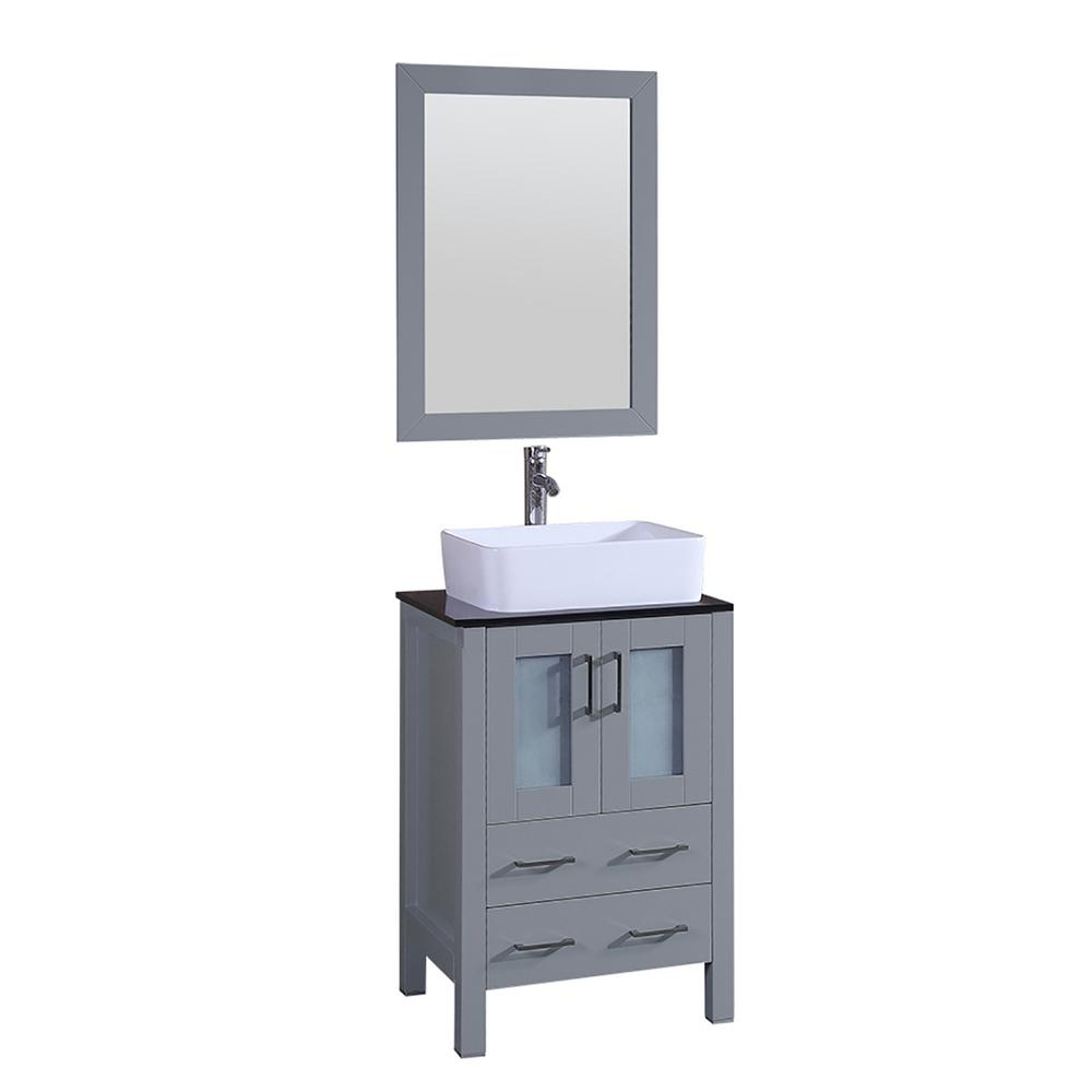 Bosconi 24 in. W Single Bath Vanity with Tempered Glass Vanity Top in Black with White Basin and Mirror