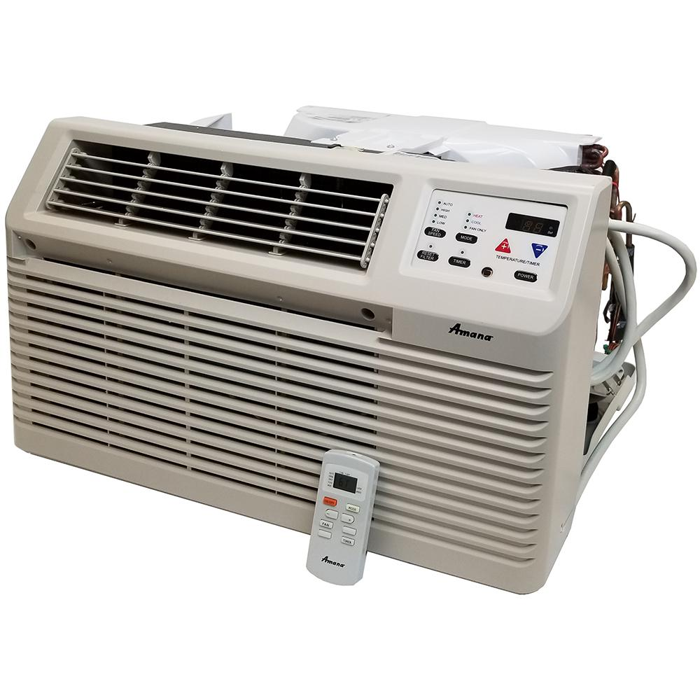 Amana 9,000 BTU 115-Volt Through-the-Wall Air Conditioner and Heat Pump with 1.2 kW Electric Heat and Remote