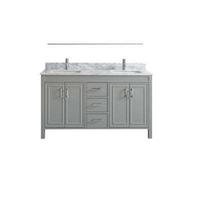 Dawlish 60 in. W x 22 in. D Vanity in Oxford Gray with Solid Surface Vanity Top in White with White Basins