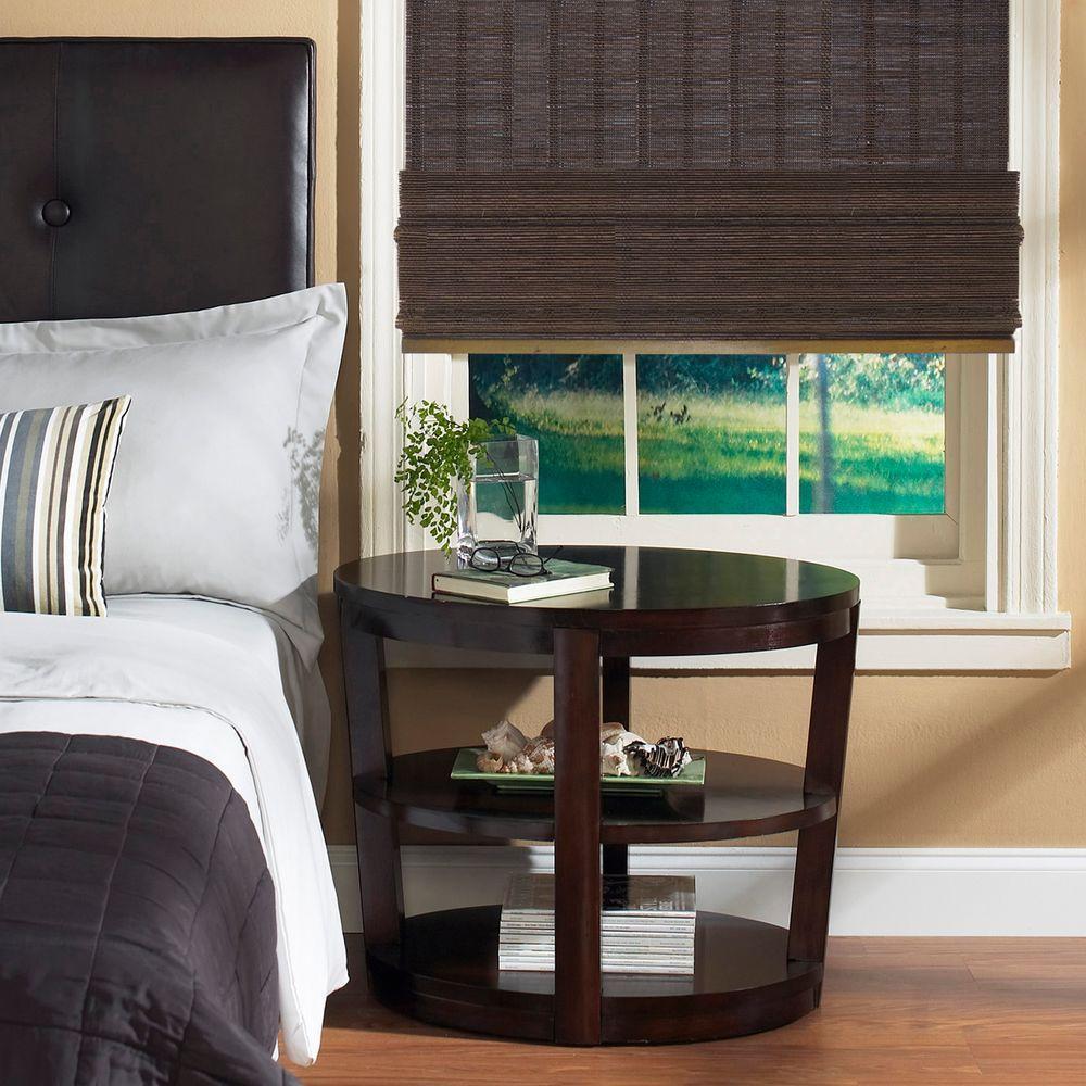 Home Decorators Collection Espresso Fine Weave Bamboo Roman Shade - 35 in. W x 48 in. L