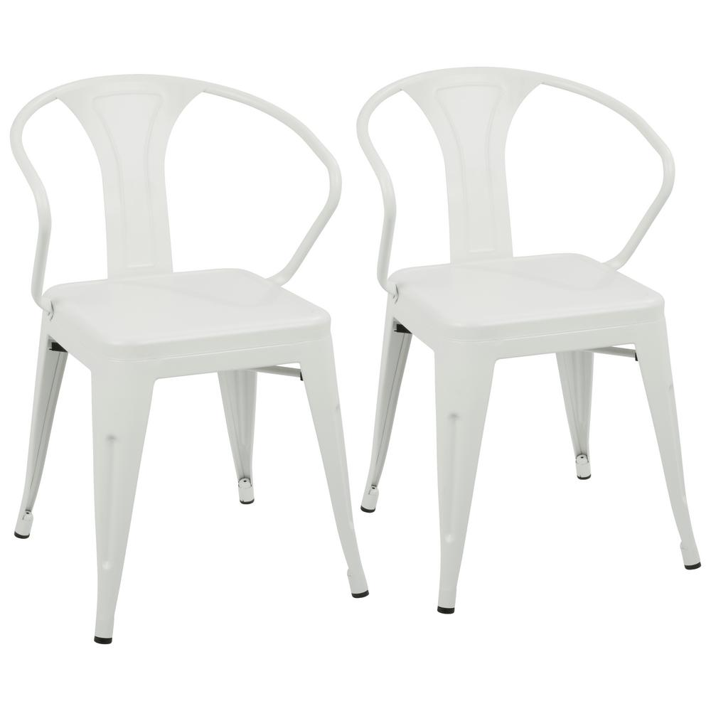 Lumisource Waco Metal Dining Chair In Vintage Cream (Set Of 2)