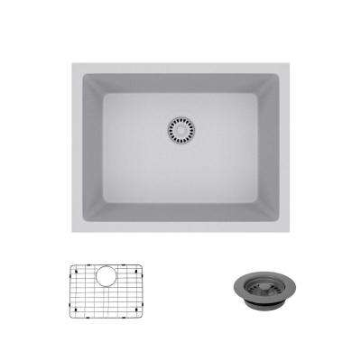 Dual-Mount Composite Granite 21-5/8 in. Single Bowl Kitchen Sink in Pewter