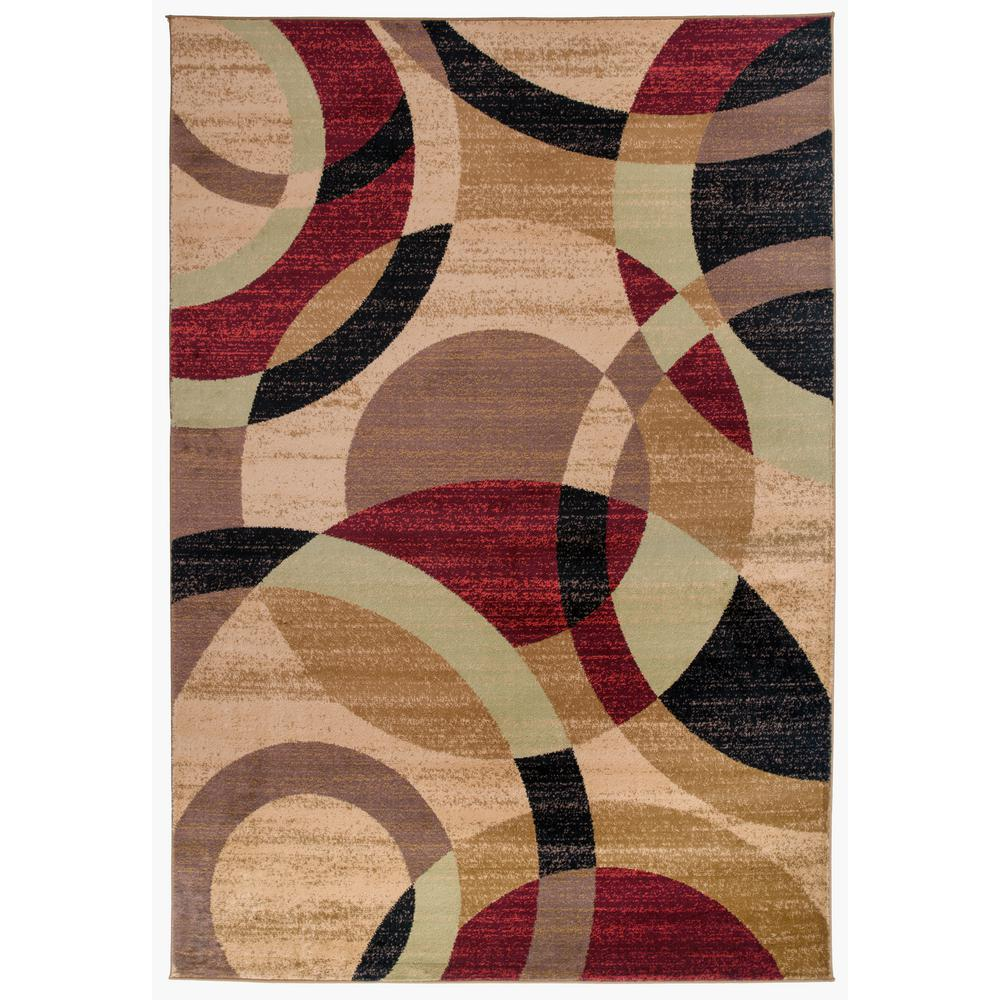 World Rug Gallery Modern Abstract Circles Multi 5 Ft 3 In