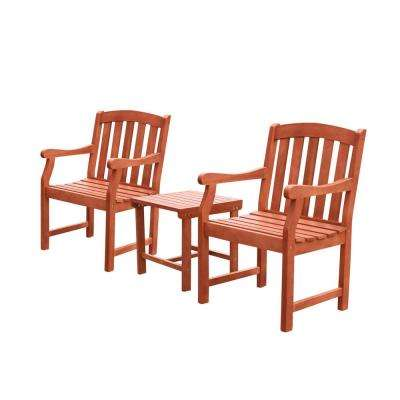 Malibu 3-Piece Wood Outdoor Dining Set
