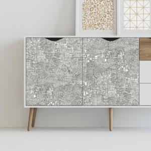 RoomMates 28.18 sq. ft. Empire Gray/White Peel and Stick Wallpaper by RoomMates