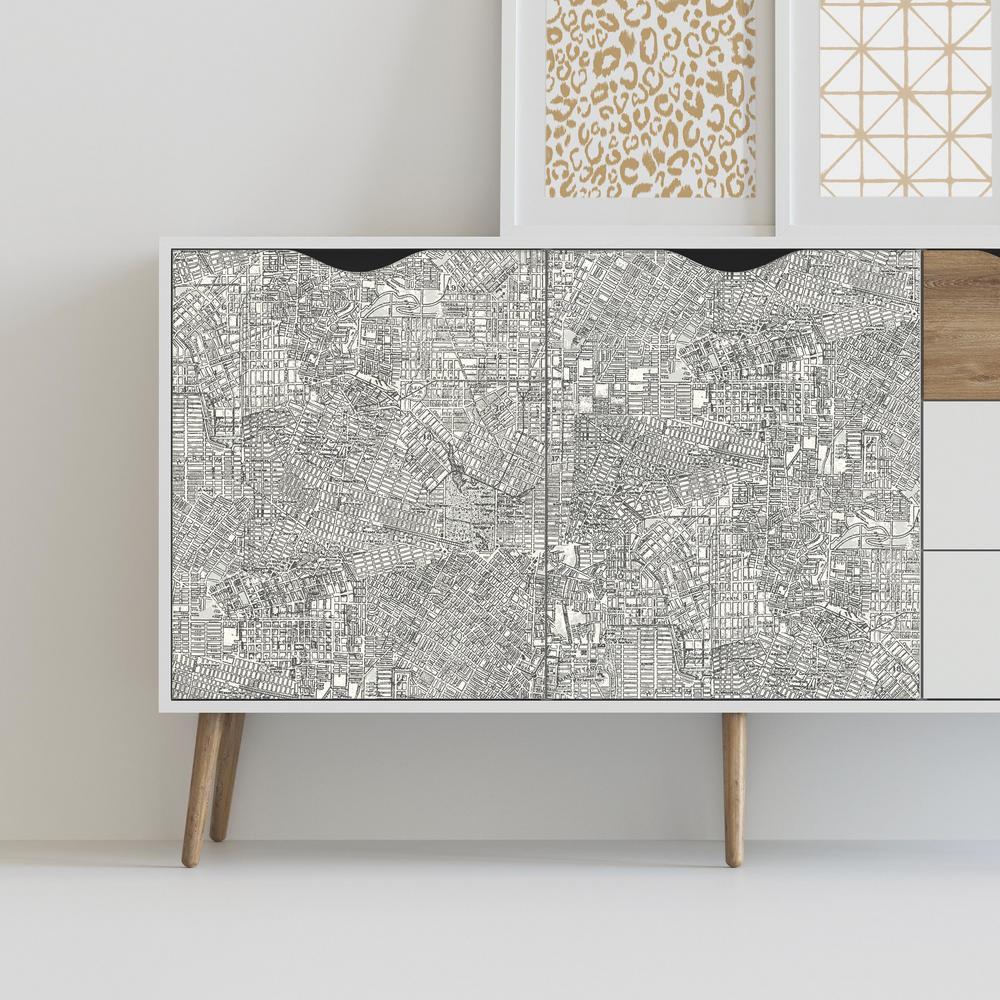 28.18 sq. ft. Empire Gray/White Peel and Stick Wallpaper