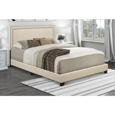Cream Queen Upholstered Bed