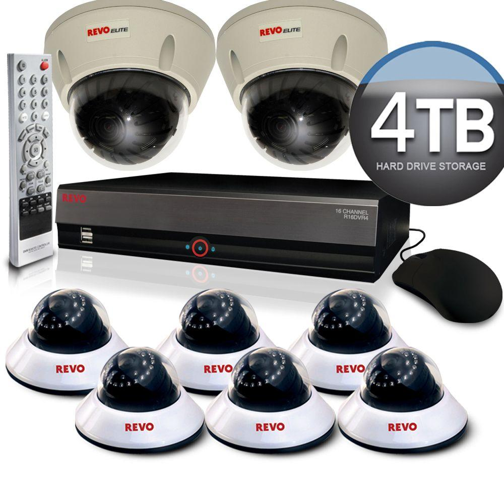 Revo Elite 16 CH 4TB Hard Drive Surveillance System with (6) High Resolution Cameras & (2) Commercial Grade Cameras