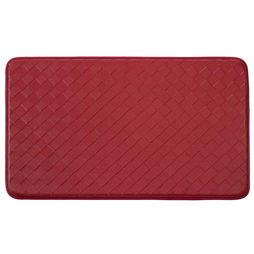 Diamond Weave Faux-Leather Red 18 in. x 30 in. Comfort Kitchen