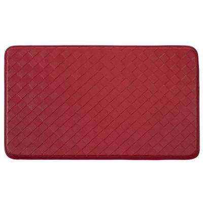 Diamond Weave Faux-Leather Red 18 in. x 30 in. Comfort Kitchen Mat