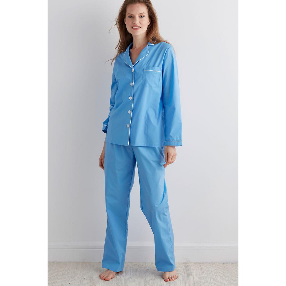 5bcbb6baea7 The Company Store Solid Poplin Cotton Women s Large Lake Blue Pajama ...