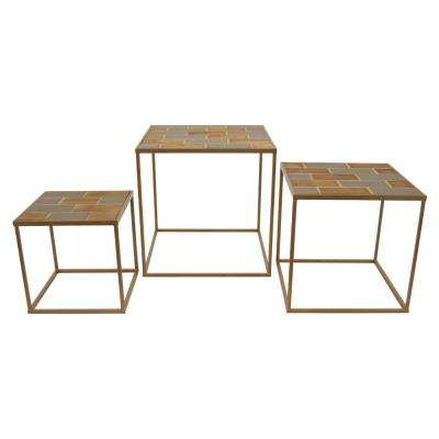 23.75 in. x 23.75 in. Brown Wood and Metal Accent Tables (Set of 3)
