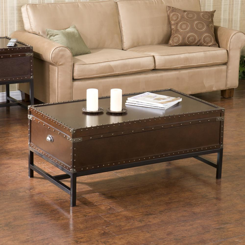 Southern Enterprises Voyager Espresso Built-In Storage Coffee Table