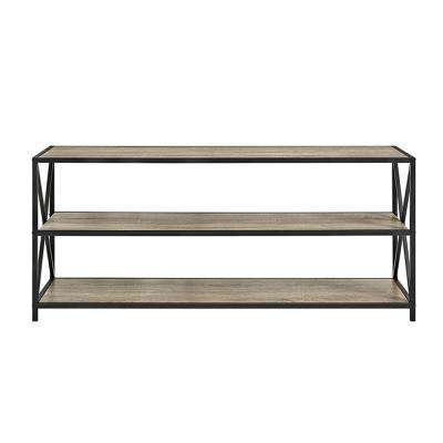 X-Frame Driftwood Wide Metal and Wood Media Bookshelf