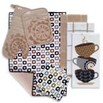T-Fal Sand Cotton Coffee Solids and Prints Kitchen Towels (Set of 8)