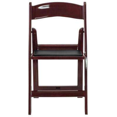 Red Mahogany Resin Folding Chair (Set of 4)