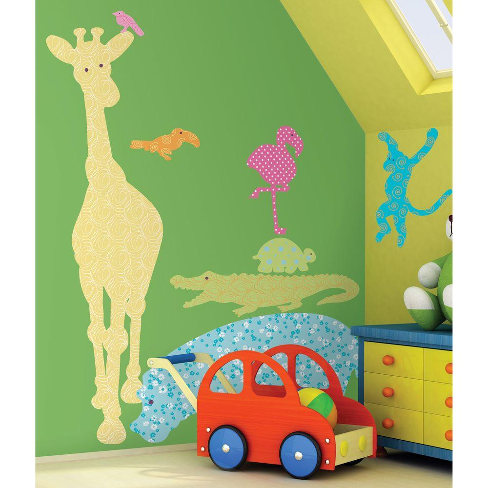 null 27 in. x 40 in. Animal Silhouettes (Colors) 24-Piece Peel and Stick Giant Wall Decals