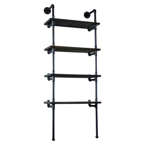 New Age 67 in. Hammered Black/Aged Black Metal 4-shelf Wall-Mounted Etagere Bookcase