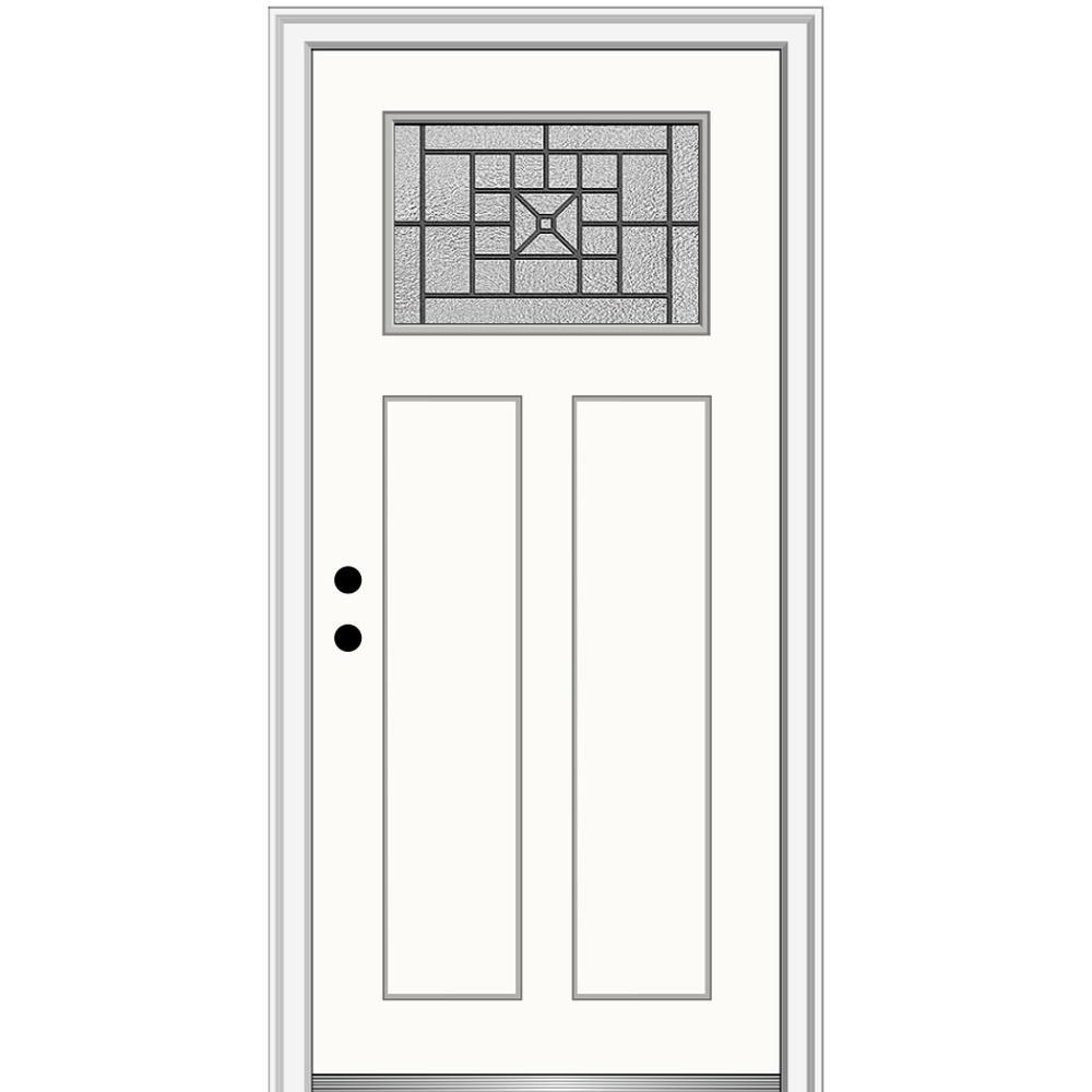 MMI Door 36 in. x 80 in. Courtyard Right-Hand 1-Lite Decorative Craftsman Painted Fiberglass Prehung Front Door, 4-9/16 in. Frame, Alabaster/Brilliant was $1444.56 now $939.0 (35.0% off)