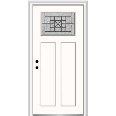 36 in. x 80 in. Courtyard Right-Hand 1-Lite Decorative Craftsman Painted Fiberglass Prehung Front Door, 6-9/16 in. Frame