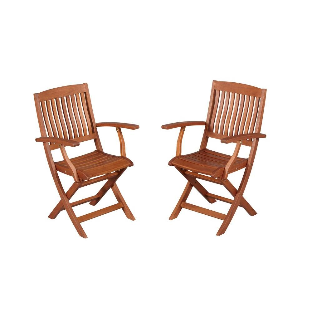 hampton bay Armchair natural oil finish folding wood outdoor dining chair (2-Pack)