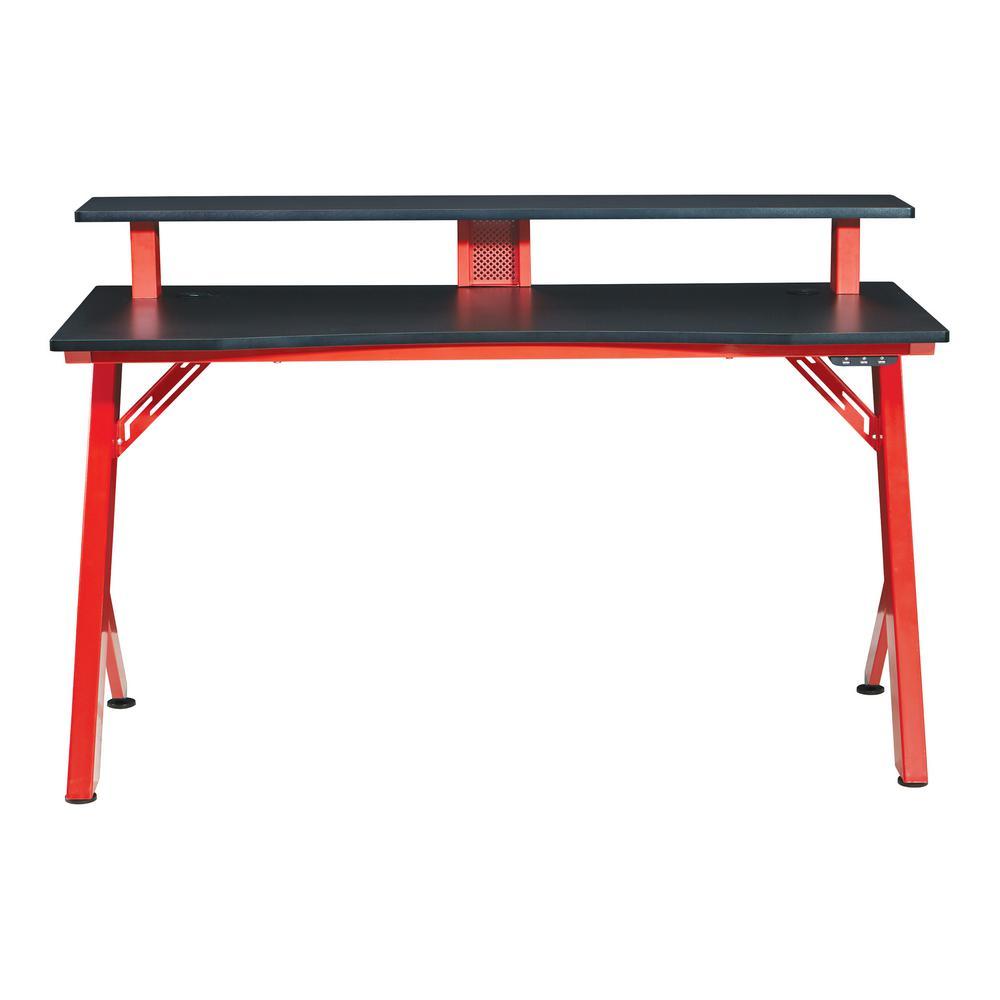 54 in. Rectangular Matte Red/Matte Black Computer Desk with USB Port
