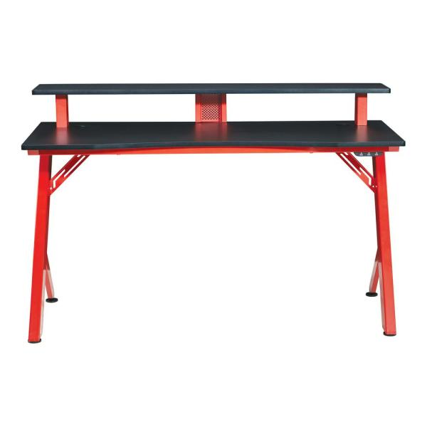 54 in. Rectangular Matte Red/Matte Black Computer Desk with USB Port