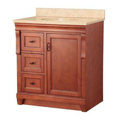 Naples 31 in. W x 22 in. D Vanity in Warm Cinnamon with Vanity Top and Left Drawers with Stone Effects in Oasis