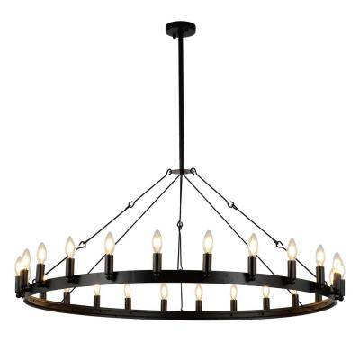 Vintage 24-Light Black Candle Style Wagon Wheel Chandelier