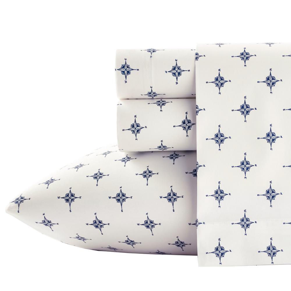 Deals on Poppy & Fritz Compass 3-Pcs Cotton Percale Twin XL Sheet Set
