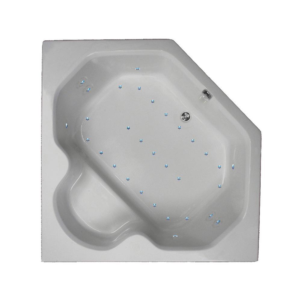 60 in. Corner Drop-in Air Bathtub in Sterling Silver