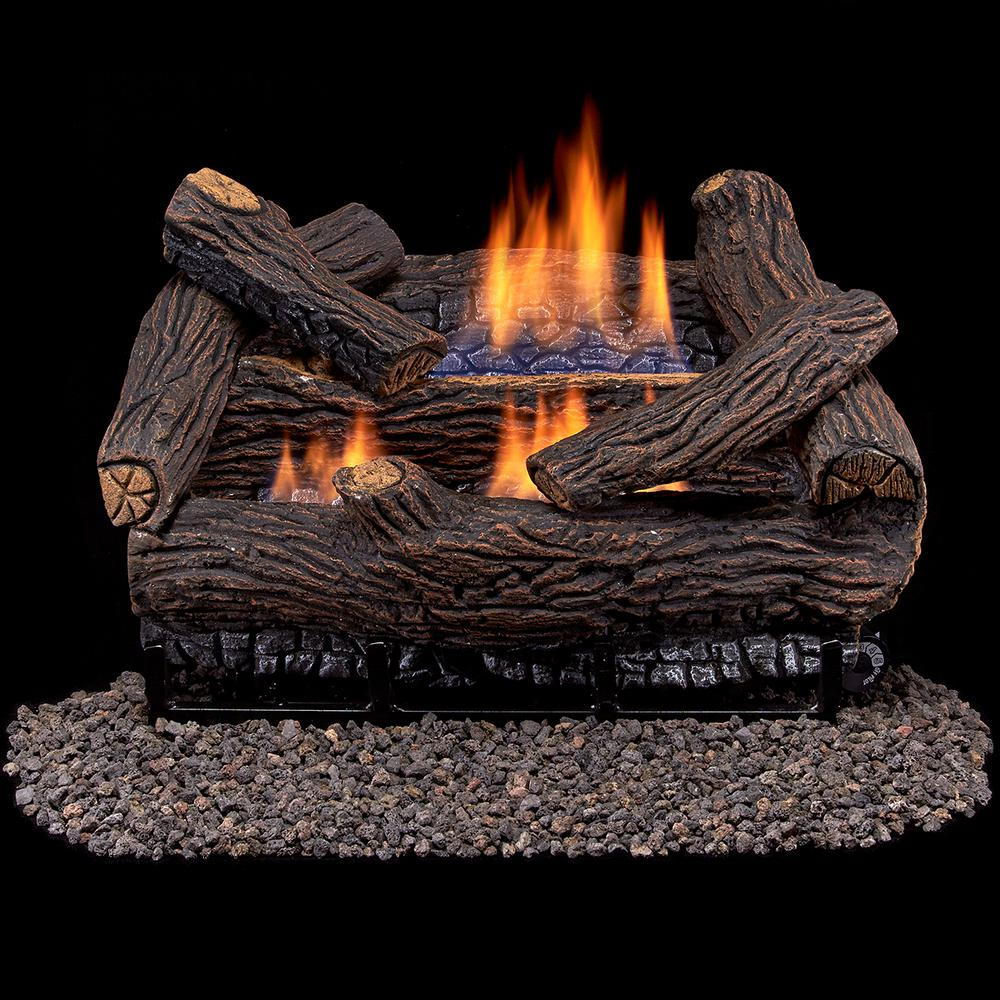Duluth Forge Stacked Red Oak 18 in. Vent-Free Gas Fireplace Logs With Remote