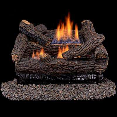 Stacked Red Oak 18 in. Vent-Free Gas Fireplace Logs With Remote