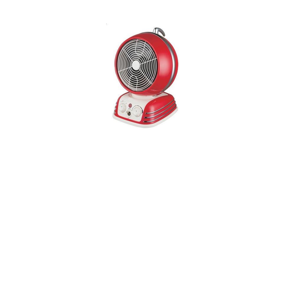 Retro Design Oscillating Fan Heater, Red