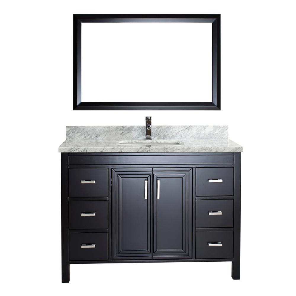 Studio Bathe Dawlish 48 in. W x 22 in. D Vanity in Espresso with Marble Vanity Top in Gray with White Basin and Mirror