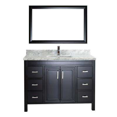 Dawlish 48 in. W x 22 in. D Vanity in Espresso with Marble Vanity Top in Gray with White Basin and Mirror