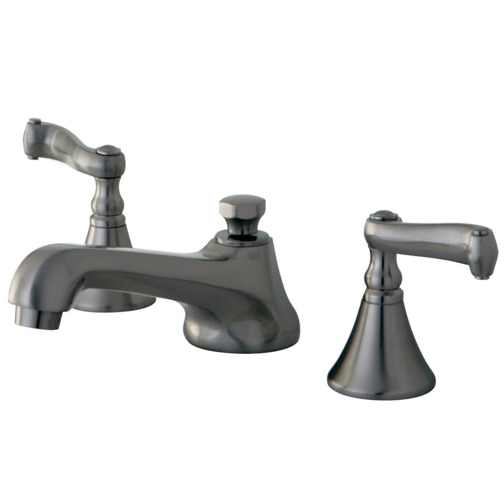 Kingston Brass Modern 8 In. Widespread 2-Handle Bathroom Faucet In Brushed Nickel-HKS4478FL