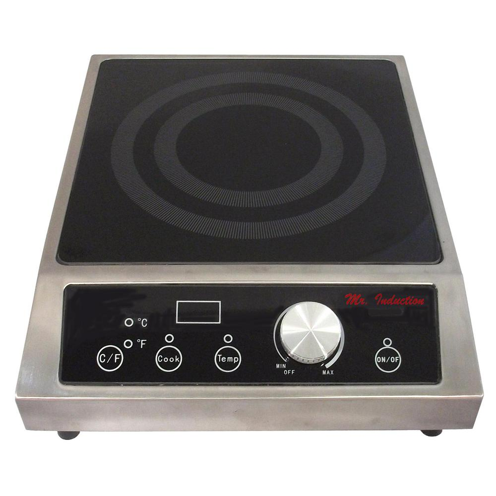 12.6 in 3400-Watt Tempered Glass Countertop Electric Commercial Cooktop in Black