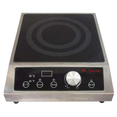 12.6 in 3400-Watt Tempered Glass Countertop Electric Commercial Cooktop in Black with 1 Element