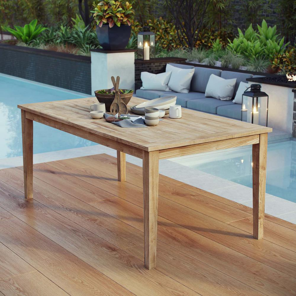 MODWAY Marina Teak Outdoor Dining Table in Natural
