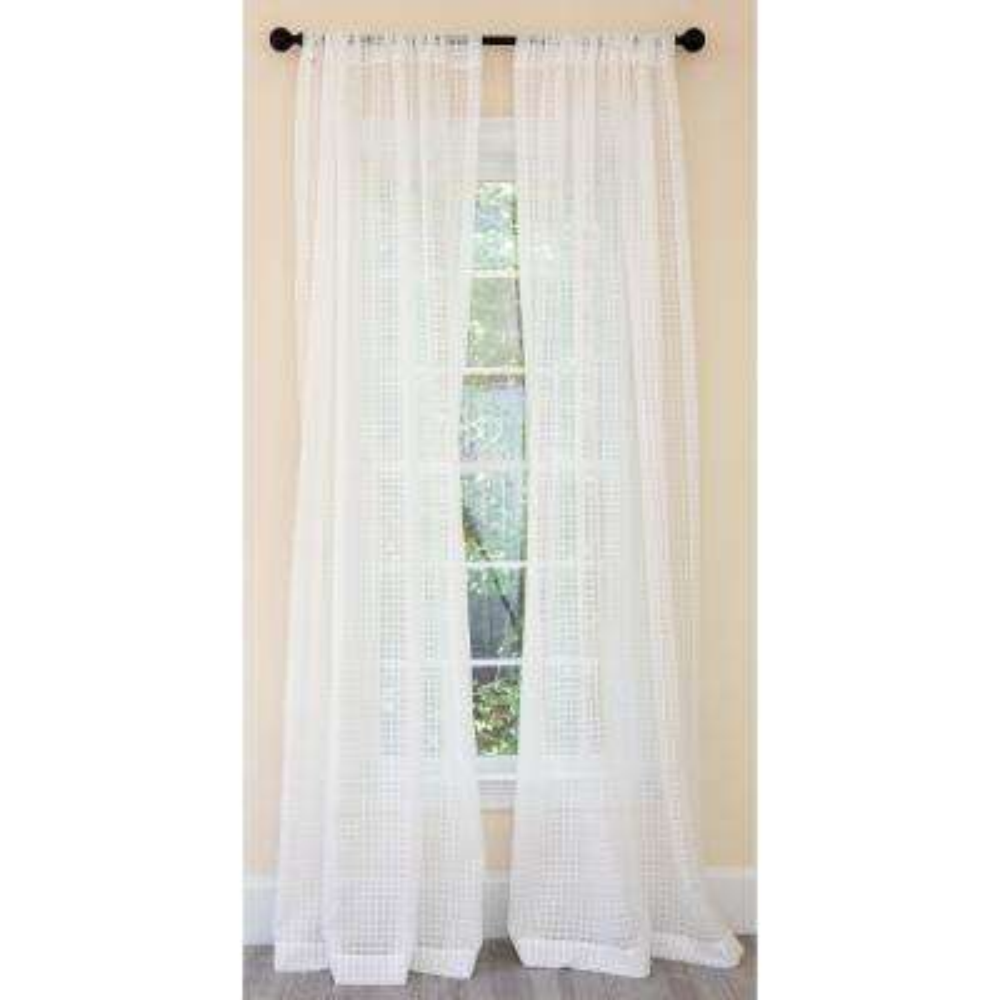 Bonita Plaid Sheer Single Rod Pocket Curtain Panel in White - 52 in. x 120 in.
